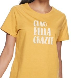 SONOMA TEE XL NWT Yellow Gold Italian Graphic 💛